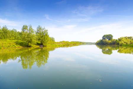 Mirroring landscape in Danube Delta, Romania Фото со стока
