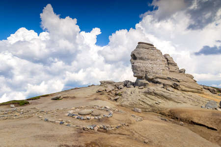 Romanian Sphinx. The Sphinx natural rock formation in Bucegi Mountains, Romania