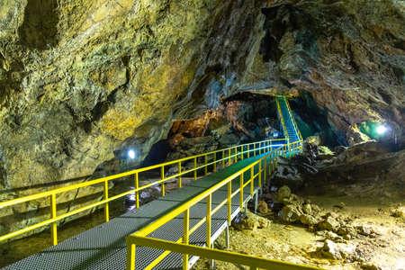 Inside Ialomita Cave, Bucegi Mountains, Romania. A cave in Bucegi Mountains, Carpathians, Romania