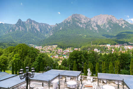 Fantastic Prahova valley is the best tourist place with Bucegi Mountain view from Cantacuzino castle balcony