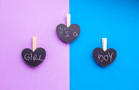Its a Boy or girl creative concept over blue and pink background