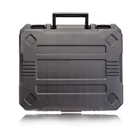 Black plastic tool box isolate on white background