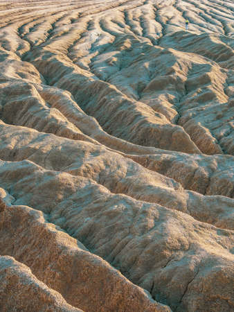 Ground shape created by muddy volcanoes and natural-gas eruptions in Berca, Paclele Mari near Buzau, Romania Stock Photo