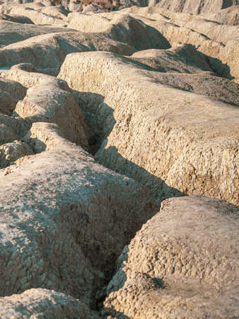 Nice shapes of Muddy volcanoes Paclele Mari near Buzau, Romania Stock Photo