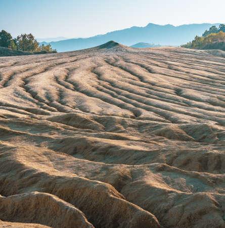 Ground made by muddy volcanoes in Paclele Mari near Buzau, Romania.