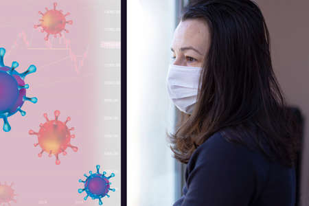 Woman with mask on quarantine (self-isolation) looking out the window. Concept of self-isolation while bacteria and virus spread to the population and the economy is affected
