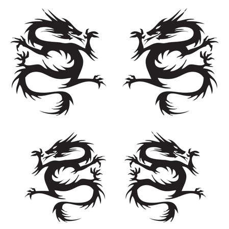 dragon vector Tattoo isolated on white Ilustrace