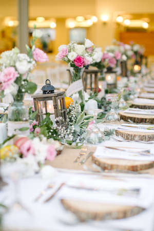 Wedding dining table and colorful flowers. Wedding day and wedding dining table.
