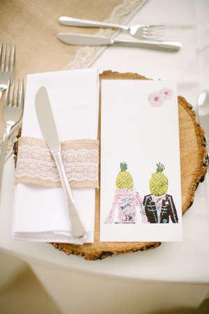 Empty menu card. Wedding dinner. Pineapple heads.
