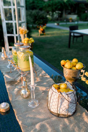 Lemonade buffet. Wedding area decoration. Preparations for the wedding day.