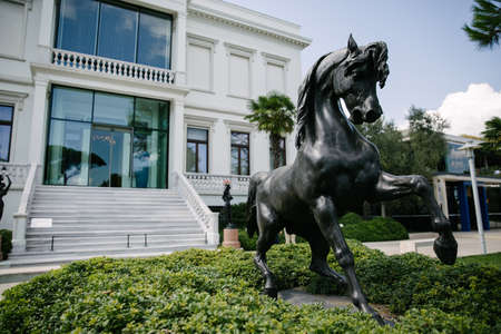 Istanbul / Turkey - 08.31.2019: Horse statue. It is black and majestic.