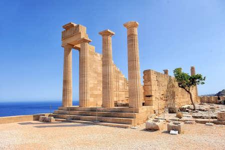 Ruïnes van de oude tempel. Lindos. Rhodos eiland. Griekenland Stockfoto