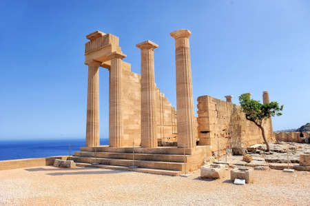 Ruins of ancient temple. Lindos. Rhodes island. Greece Imagens - 36890657