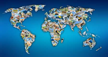 世界地図図形として配置別写真集