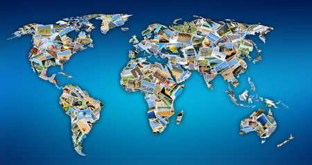 Collection of different photos placed as world map shape Stock Photo