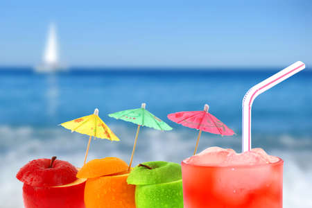 Cocktail On A Beach Background Photo