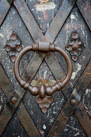 Close-up old metal door knob. Castle door knob photo