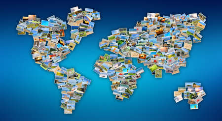 Collection of different photos placed as world map shape photo