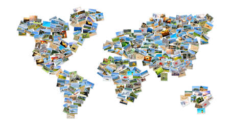 travel collage: Collection of different photos placed as world map shape Stock Photo
