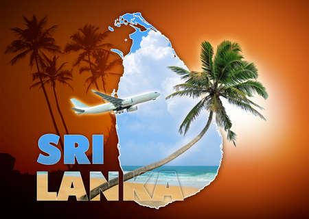 sri: Sri Lanka travel concept on brown background Stock Photo