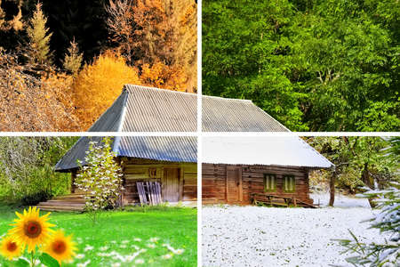 Four seasons in one photo. The wooden house 免版税图像 - 37376535