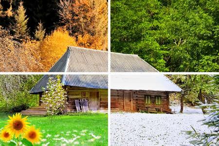 case colorate: Quattro stagioni in una sola foto. La casa in legno Archivio Fotografico
