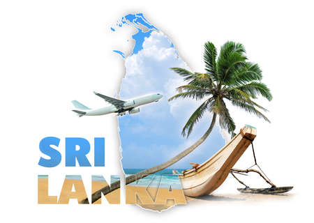 Sri Lanka travel concept on white background