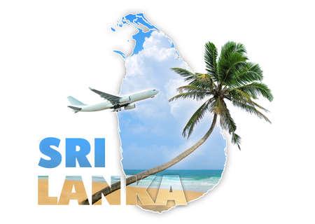 sri: Sri Lanka travel concept on white background