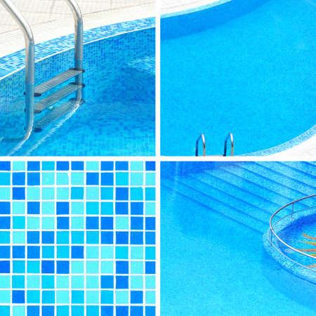 four elements: Piscina collage con cuatro elementos Foto de archivo