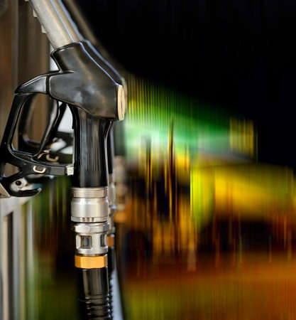 unleaded: Pump nozzles at the gas station Stock Photo