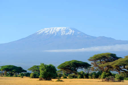 mountains and sky: Snow on top of Mount Kilimanjaro in Amboseli