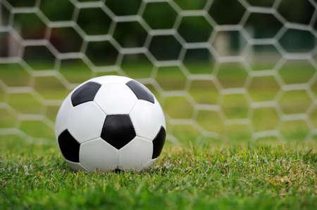 sport equipment: Close-up soccer ball on green grass