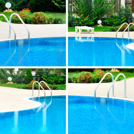 four elements: Swimming pool collage with four elements
