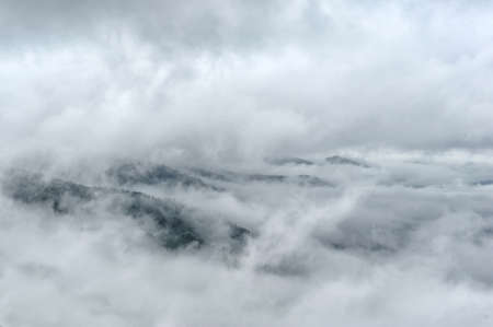fog: Fog and cloud mountain valley spring landscape