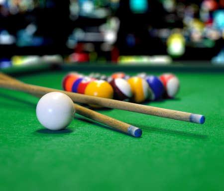 snooker halls: Billiard balls in a green pool table Stock Photo