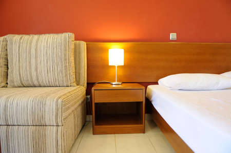 roomservice: Interior of hotel room - bed room Stock Photo