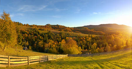 haycock: Mountain autumn landscape with colorful forest Stock Photo