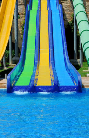 water park: Colorful water slides at the water park