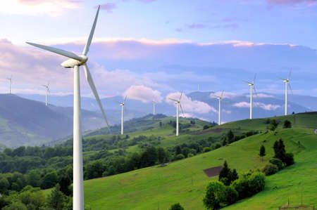 energy fields: Eco power. Wind turbines generating electricity