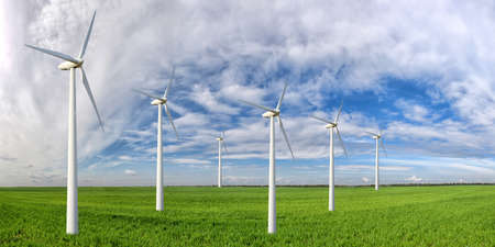 Eco power. Wind turbines generating electricity Stock Photo - 42699281