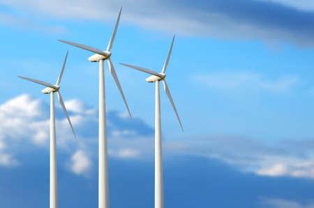 Ahorro de Consumo. Las turbinas de viento generadoras de electricidad Foto de archivo - 42725012