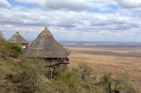 architecture bungalow: Wooden house on hill, National park of Kenya