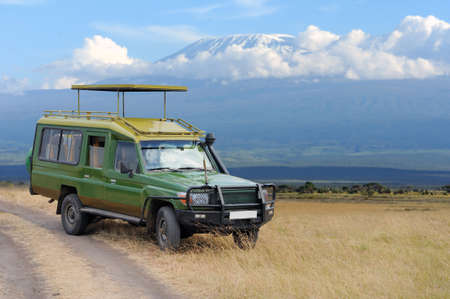 Safari game drive on Kilimanjaro moun background. Kenya, Africa Banco de Imagens