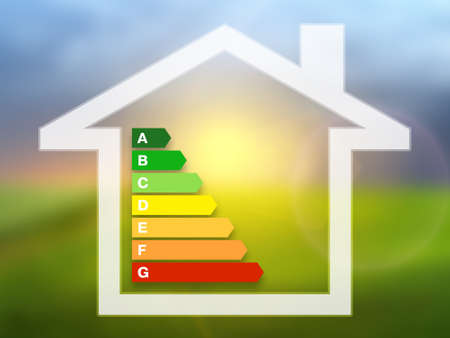 consuming: Energy efficiency rating charts with house on a nature background