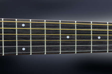 frets: Close acoustic guitar strings and frets Stock Photo