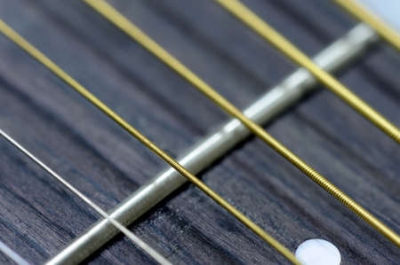 instrument cable: Close acoustic guitar strings and frets Stock Photo