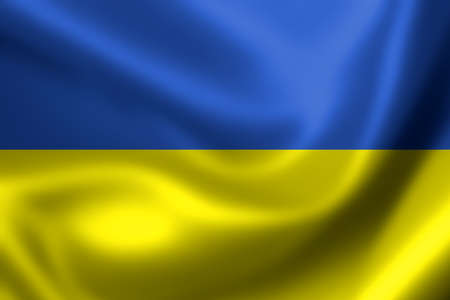 ukraine flag: Ukraine flag, three dimensional render, satin texture Stock Photo