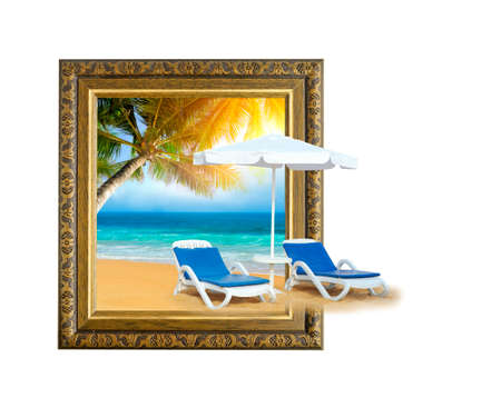 painting on the wall: Tropical beach with chair on sand and palm tree in old wooden frame with 3d effect Stock Photo