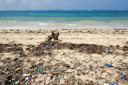 Trash on beach. Waste on the sands causes environmental pollution Stock Photo