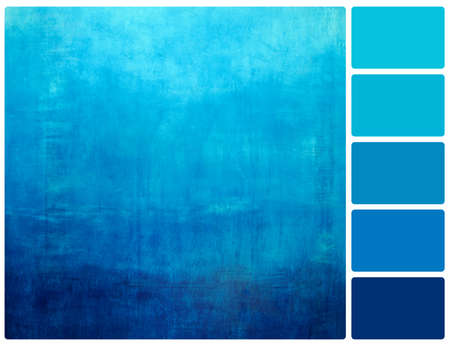 Hand drawn blue gradient background on wall. Colour palette with complimentary colour swatches